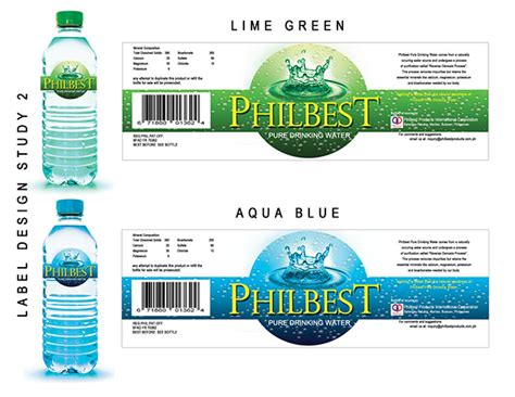 Design Bottle Label Online | philbest pure water bottle label design on behance