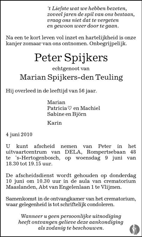 Peter Spijkers 04-06-2010 overlijdensbericht en