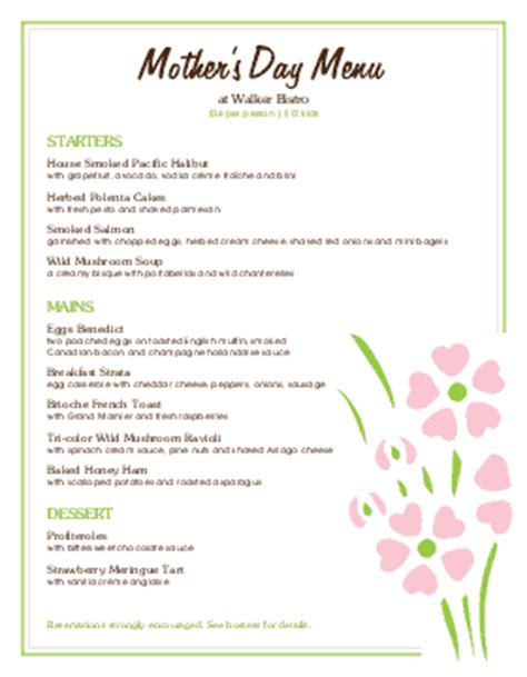 Mother S Day Menu Templates And Designs Musthavemenus S Day Menu Template