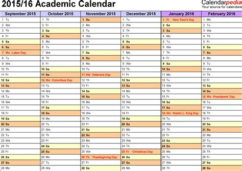 College Calendar Academic Calendars 2015 2016 As Free Printable Word Templates