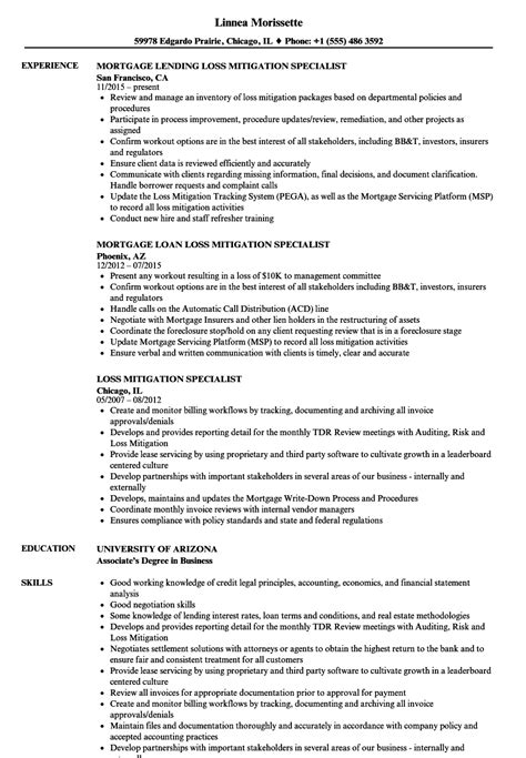 Mitigation Specialist Cover Letter by Loss Mitigation Specialist Sle Resume Sle Professional Summary Resume