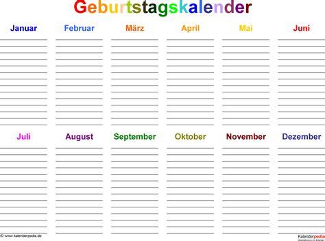 Kostenlose Vorlage Geburtstagskalender Geburtstagskalender In Pdf Zum Ausdrucken 8 Varianten
