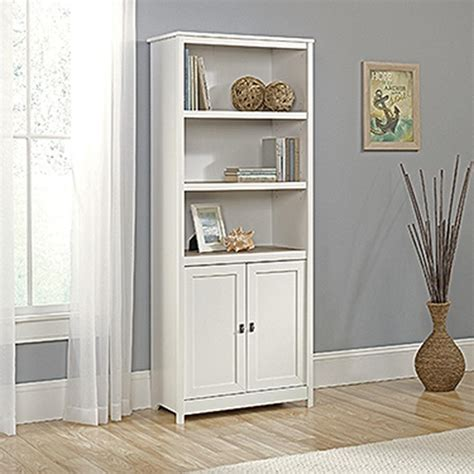 Sauder Cottage Road Soft White 2 Door Bookcase 417593 White Bookcase With Glass Doors Sale