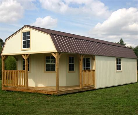 derksen portable painted lofted barn cabin  wrap