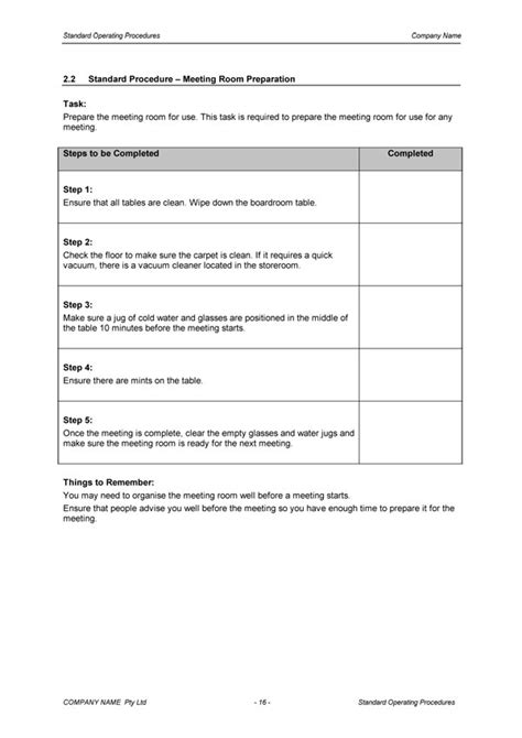 standard operating procedures template standard operating procedure template digital