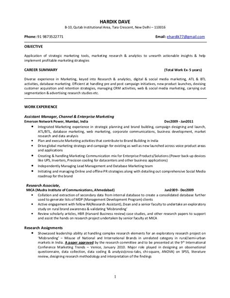 mba marketing resume format hardik dave executive mba marketing profile