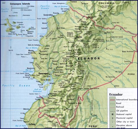 physical map of ecuador large detailed physical map of ecuador ecuador large