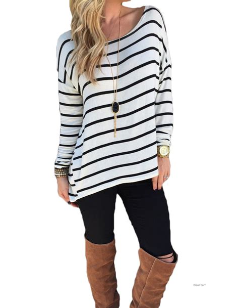 42898 Black Lesiure S M L Casual Top Le250517 Import casual striped top o neck sleeve