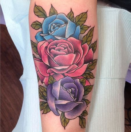 colorful roses tattoos depiction gallery tattoos family birthdate