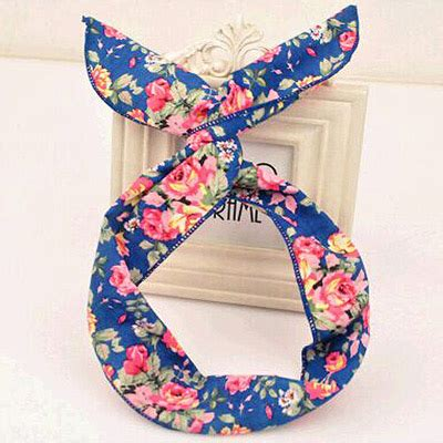 Bando Bowknot Decorated Flower Pattern Design 6 sweet blue flower pattern simple design fabric hair band