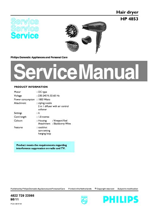 Hair Dryer Owners Manual philips hp 4853 hair dryer info service manual