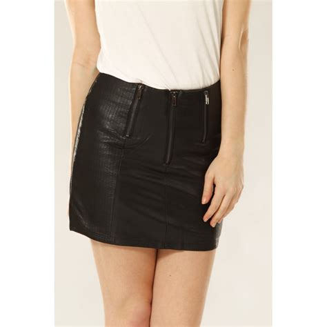 leather look front mini skirt with zip detail from miss