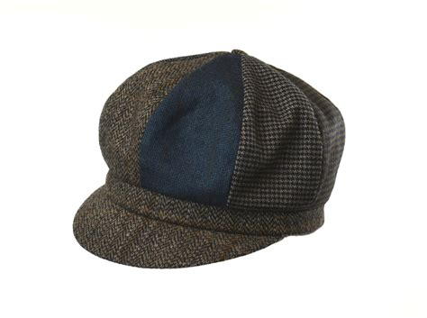 Patchwork Newsboy Cap - patchwork wool blend newsboy cap crown cap