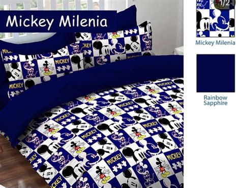 detail product sprei dan bedcover mickey millenia biru