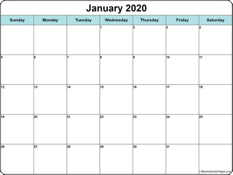 January 2020 Calendar Best Collection Of Printable Calendars Printable Blank Calendar Template