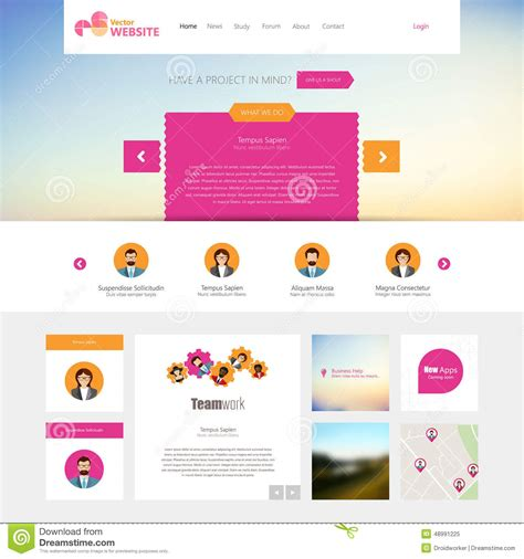 flat website template homepage portfolio about contact