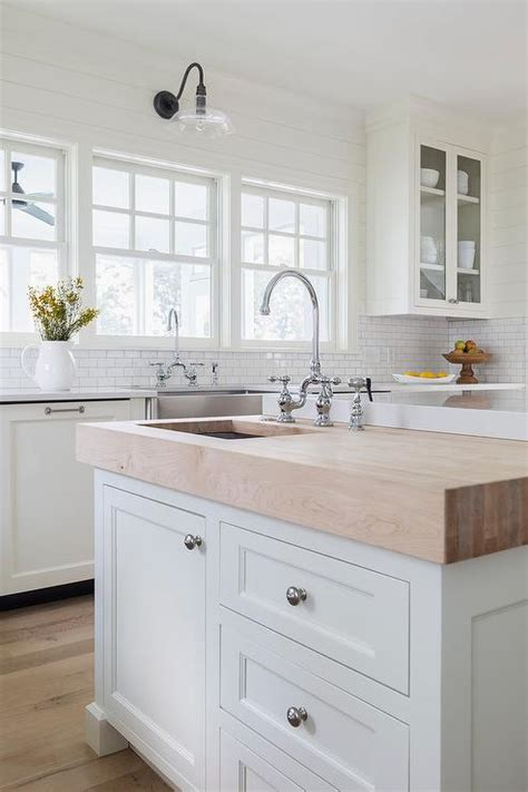 Prep Sinks For Kitchen Islands Butcher Block Prep Island With Sink Transitional Kitchen
