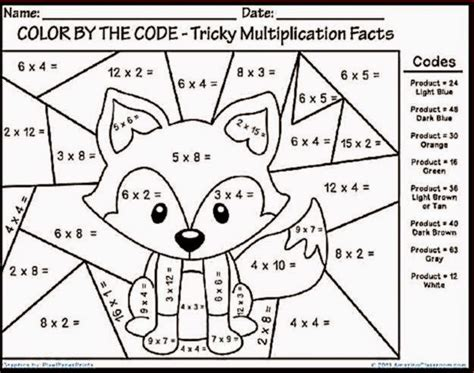 multiplication color sheet free coloring sheet