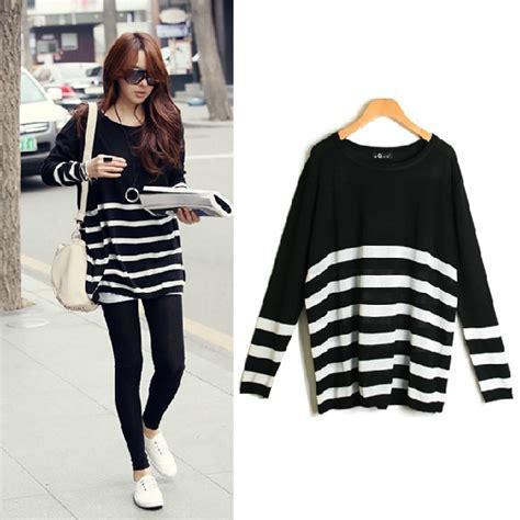 Sweater Hodie Baju Wanita korean o neck sleeve stripe acrylic sweater sweaters cardigans top lovelywholesale