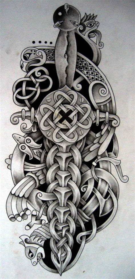 dagger celtic half sleeve tattoo designs drawings and bird