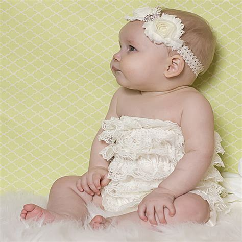 Romper Baby Style baby lace ruffle romper summer style baby ivory onesie newborn jumpsuit