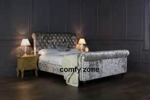 Crushed Velvet Bed Frames Uk Crushed Velvet Bed Frame 5ft King Size Bedstead Grey