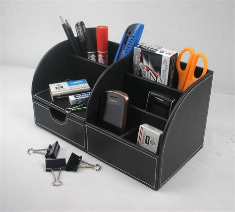 Black Wood Desk Organizer by 2019 5 Slot Wood Leather Multi Function Desk Stationery