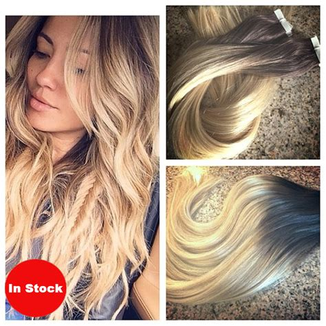 ash blonde hair extensions 40pcs 100g brazilian skin weft ombre hair extension