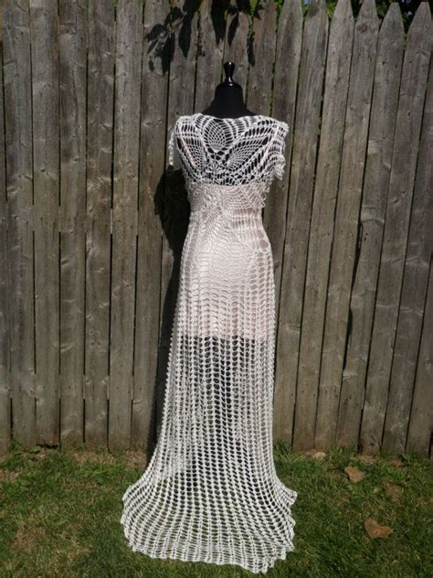 Handmade Dress - lace crochet handmade wedding dress with slight