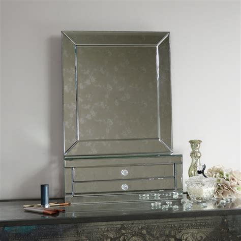 large tabletop vanity mirror with 2 drawers melody maison 174