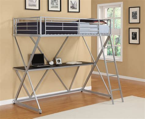 metal loft bed with desk metal loft bunk bed home office computer workstation desk