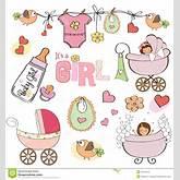 Baby Girl Shower Elements Set Royalty Free Stock Photos - Image ...