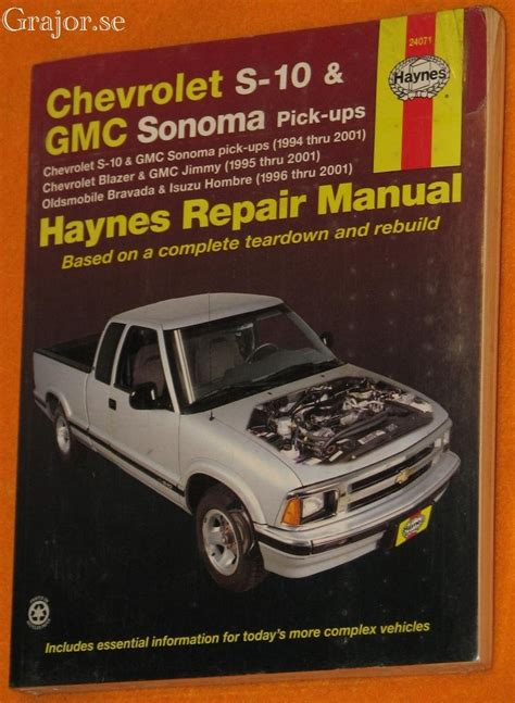 grajor chevrolet s10 1994 2001 haynes repair manual