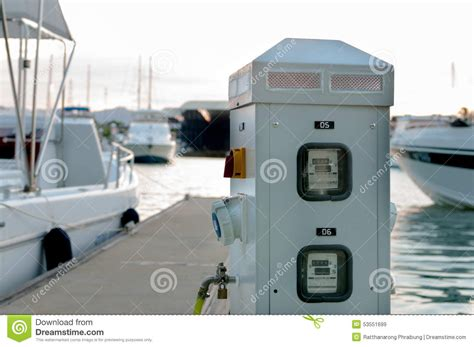 boat dock supply power and water supply at the marina for boat docking at