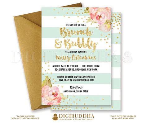 diy breakfast at s bridal shower invitations brunch bubbly invitation bridal shower invite pink peonies mint stripes gold glitter confetti