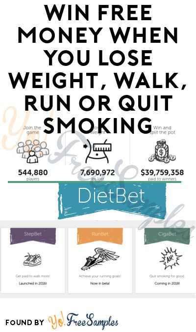 Lose Weight And Win Money - win free money when you lose weight walk run or quit smoking with dietbet stepbet