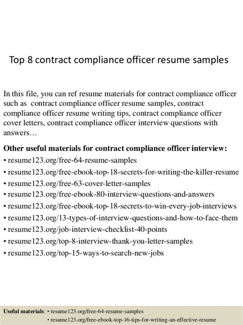 Contract Compliance Officer Sle Resume by Top 8 Contract Compliance Officer Resume Sles