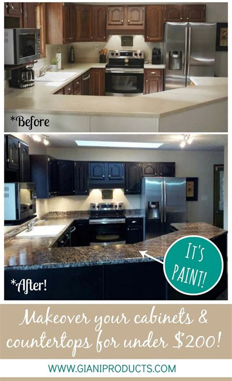 whitewash cabinets with granite countertops kitchen update on a budget paint that looks like granite