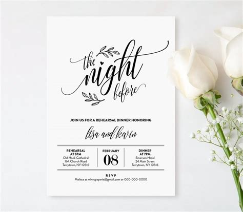 Wedding Rehearsal Dinner Printable Diy Rehearsal Invitation Template Night Before Instant Rehearsal Dinner Invitation Template