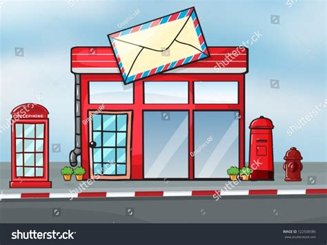Post Office Search By Address Illustration Of A Post Office Near A 122508586