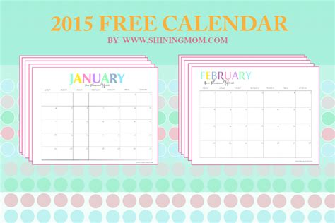 cute printable monthly planner 2015 free printable your pretty 2015 monthly calendars