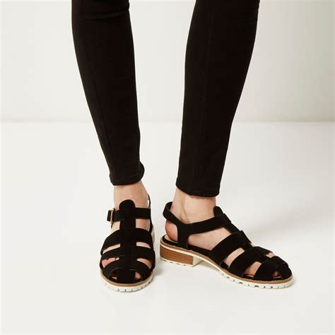 River Island Black Kickers lyst river island black strappy sandals in black