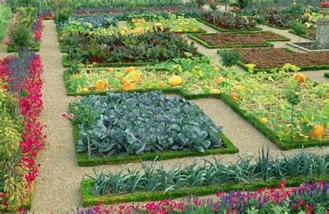 Beautiful Garden With Full Of Beautiful Flowers And Attractive Vegetable Garden