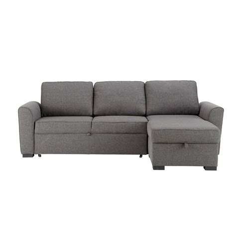 Grey Corner Sofa Bed 3 4 Seater Grey Fabric Corner Sofa Bed Montr 233 Al Maisons Du Monde