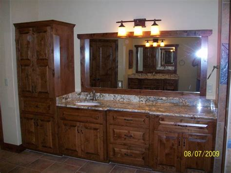 Knotty Alder Bathroom Vanity Knotty Alder Custom Cabinets Traditional Bathroom Other Metro By Bobo Custom Builders