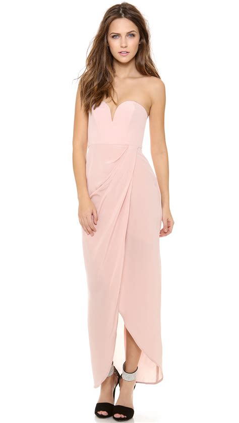 zimmermann strapless drape dress zimmermann strapless drape maxi dress in pink rosewater