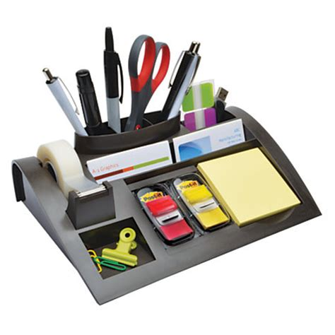 3m Desk Organizer 3m Weighted Desktop Dispenser And Organizer Gray By Office Depot Officemax