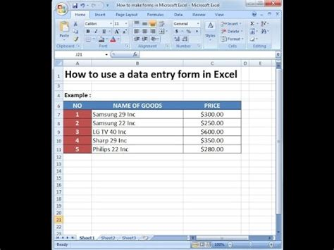 statistics tutorial online video microsoft excel training how to use a data entry form in