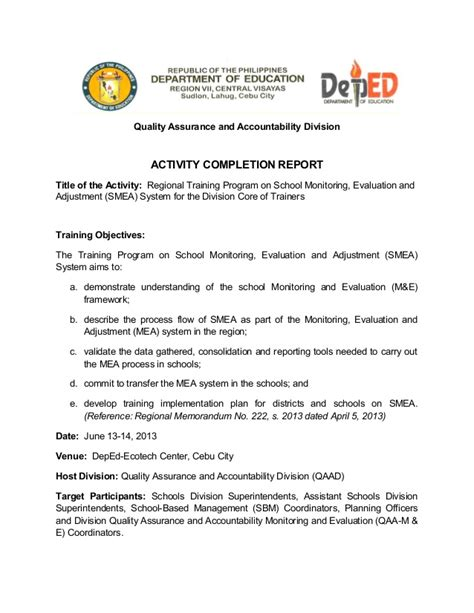 school monitoring evaluation and adjustment activity