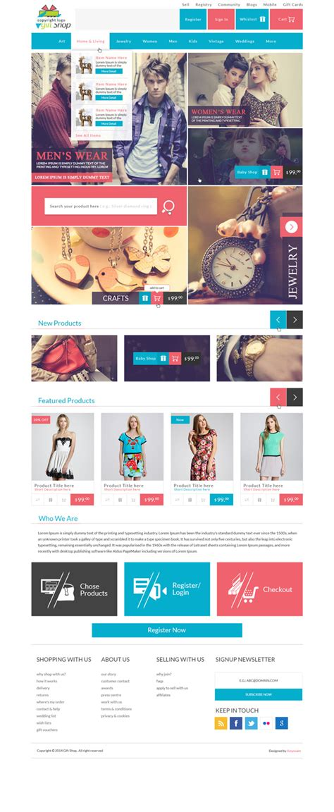 Modern Modular Gift Shop E Commerce Website Psd Design Apparel Website Templates
